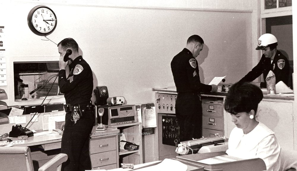 The Downey Police Station in action in 1968. Photo courtesy Larry Latimer/Downey Historical Society.