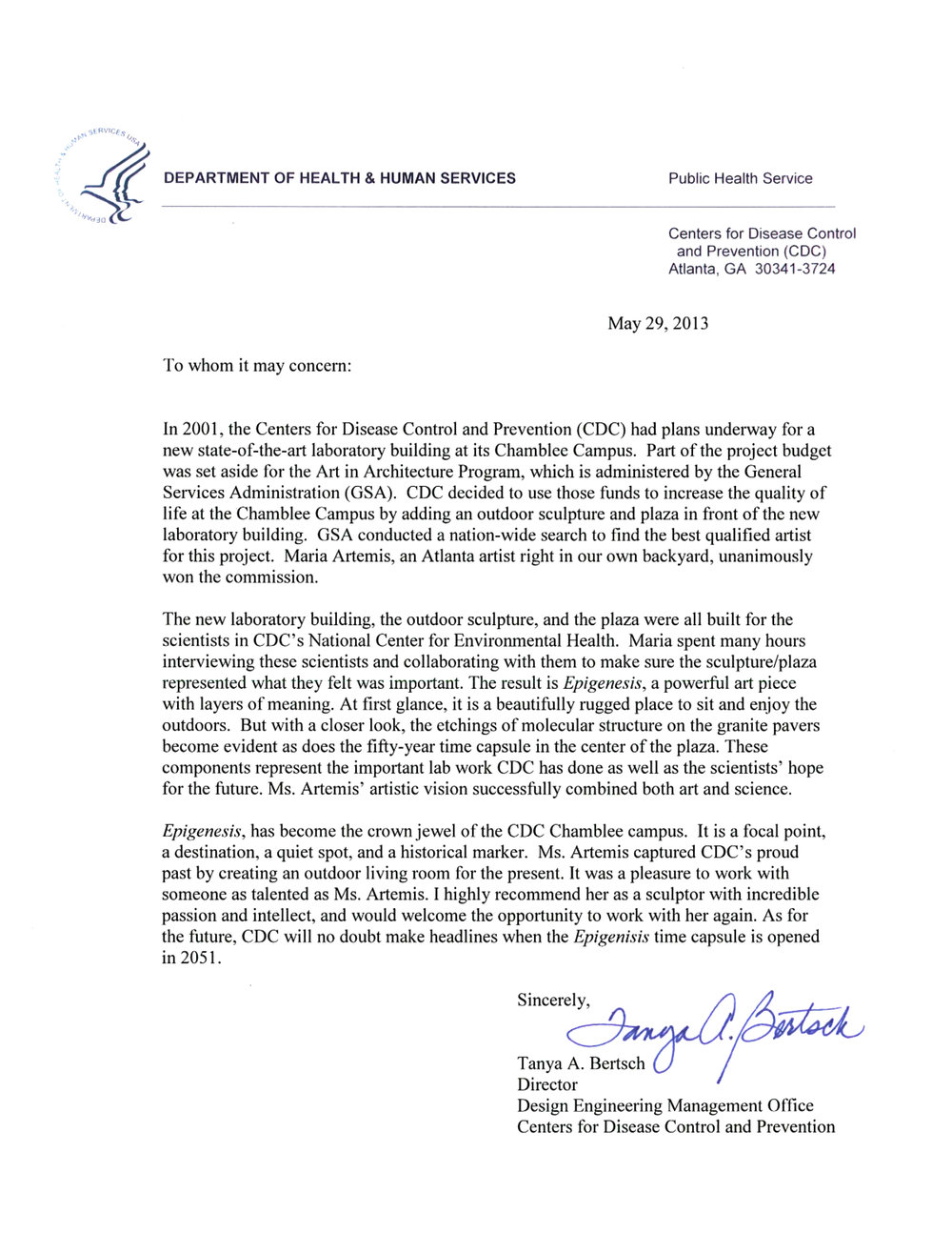 Tanya Bertsch Letter of Recommendation