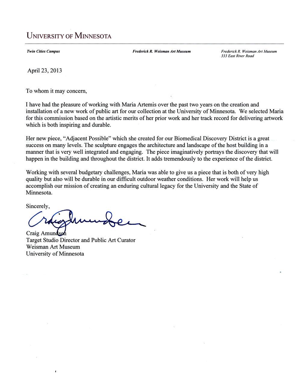 Craig Amundsen Letter of Recommendation