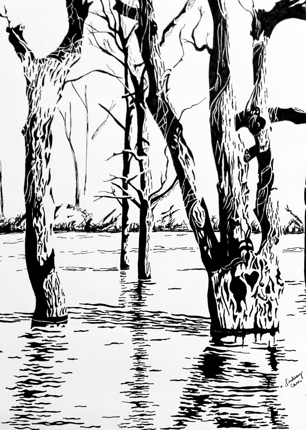 inked trees flood