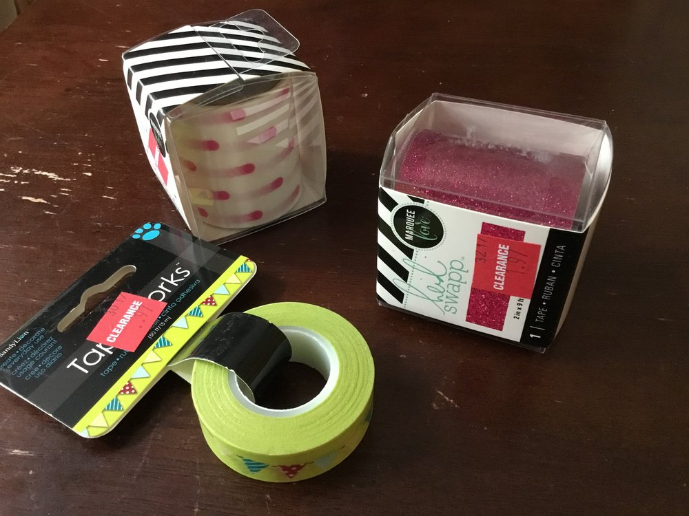 A pennant patterned tape by SandyLion and two wide tapes by Heidi Swapp, one pink polka dots and one pink glitter.