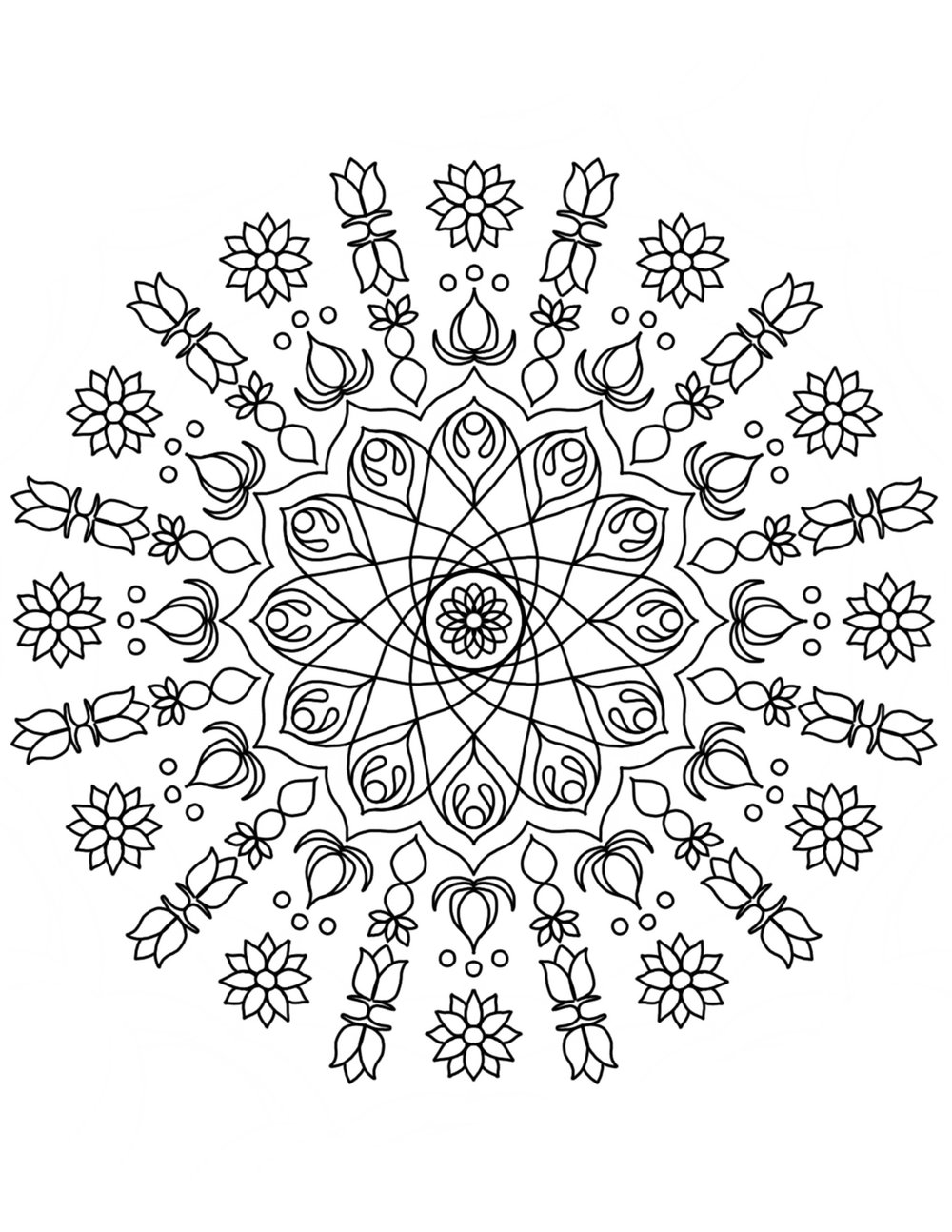I also draw a variety of mandala coloring pages including a set called  Floral Mandalas