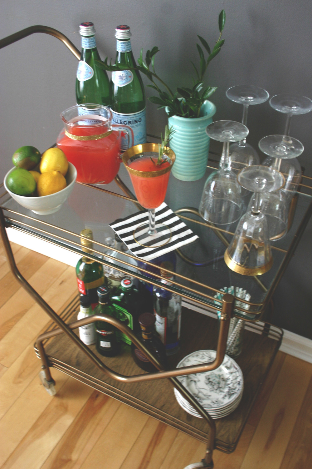 Bar Cart // Cocktail // DIY // Mid Century // Drink Recipe // 5 O'Clock Design Co.