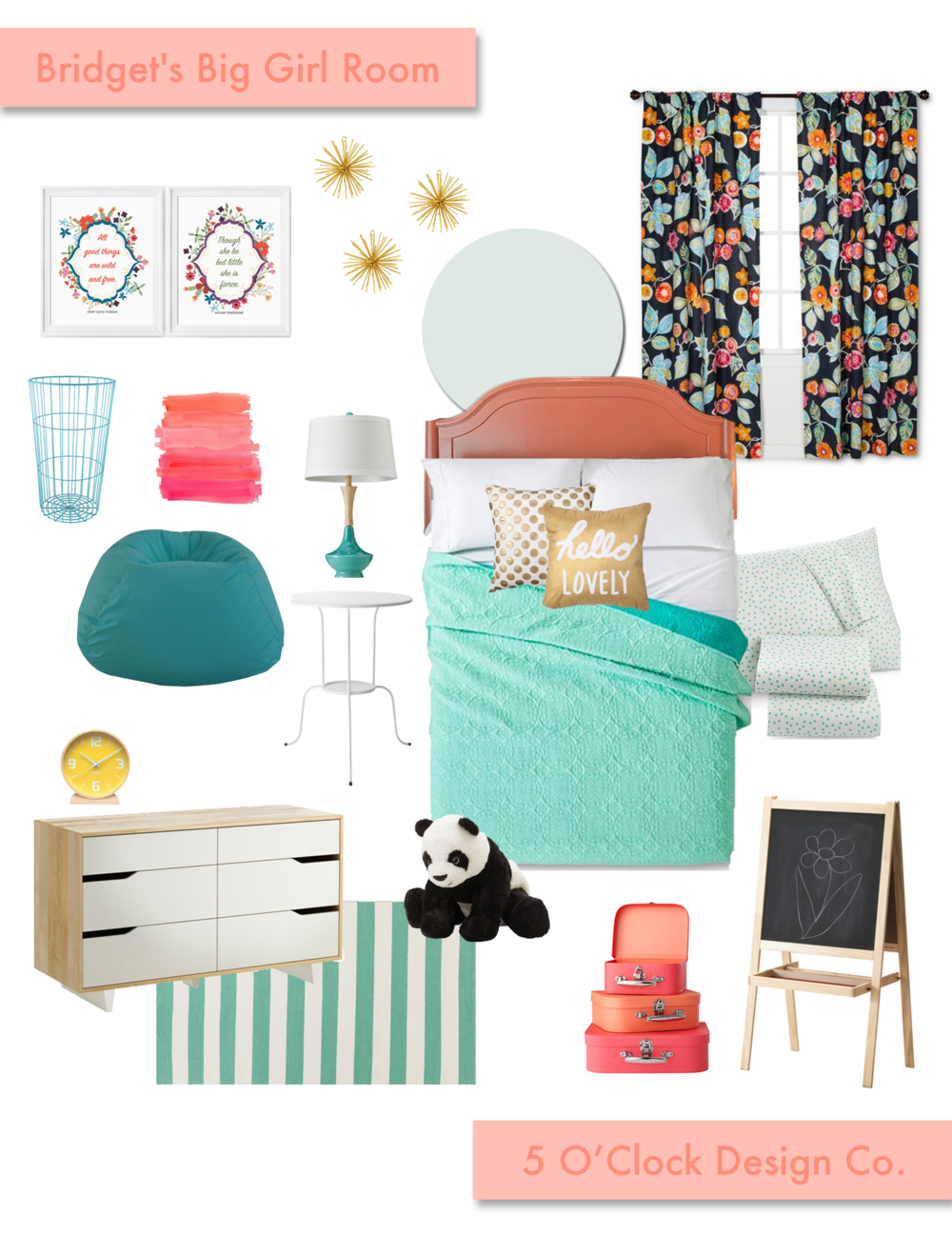 Big Kid Bedroom // Coral, Teal, Navy, and Gold