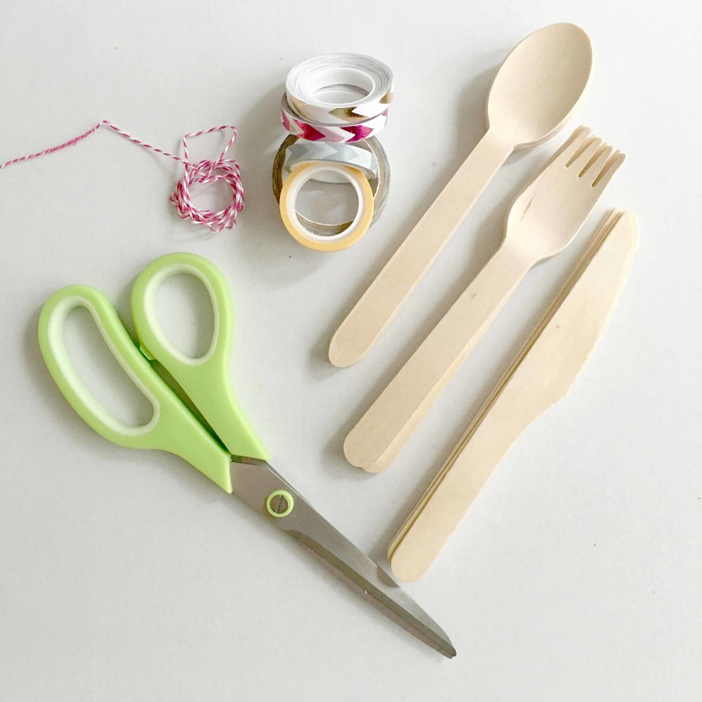 Wooden Silverware and Washi Tape
