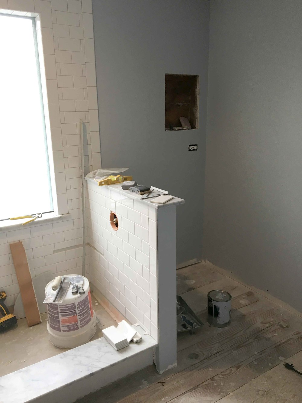 Master Bathroom // Walk-In Shower // White Subway TIle