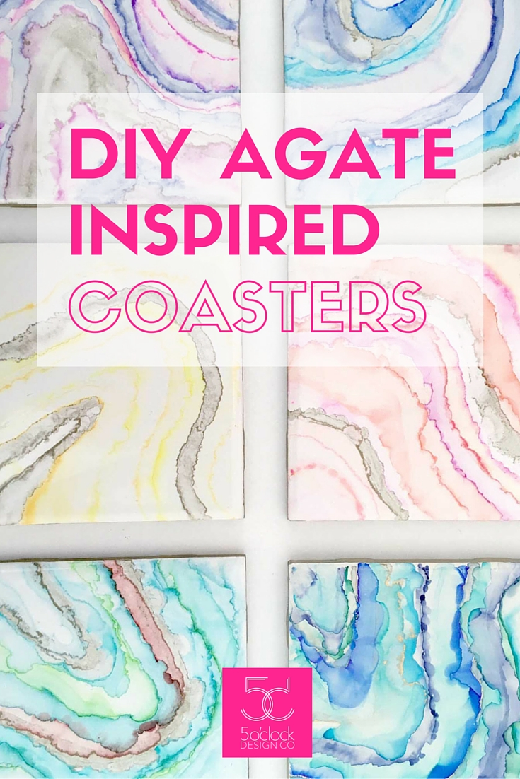 DIY Agate Inspired Coasters // Agate Art // Geode