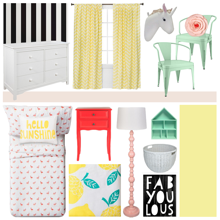 Target // Pillow Fort // Kid's Room // Kid's Decor // Girl's Room // Chevron // Mint // Pink // Cafe Chair // Coral // Black and White Stripe