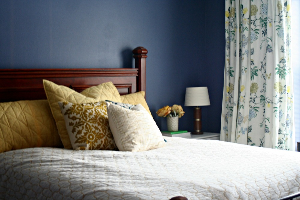 Master Bedroom // Anthropologie Curtains // Blue and Gold // Restyle It Wright