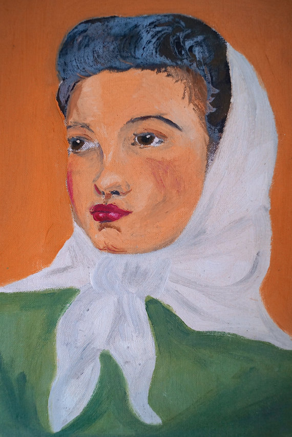 Vintage Painting - Girl With Head Scarf