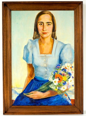 Vintage Portrait and Flower Painting