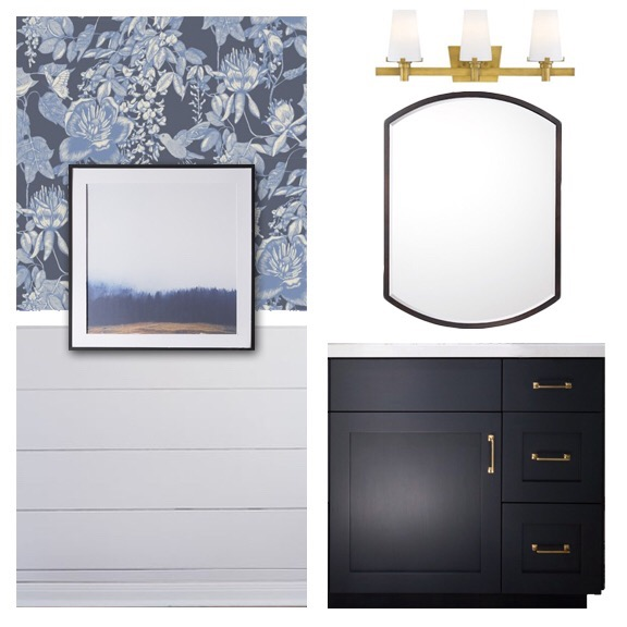 Mood Board | ORC | Powder Room | Blue Wallpaper