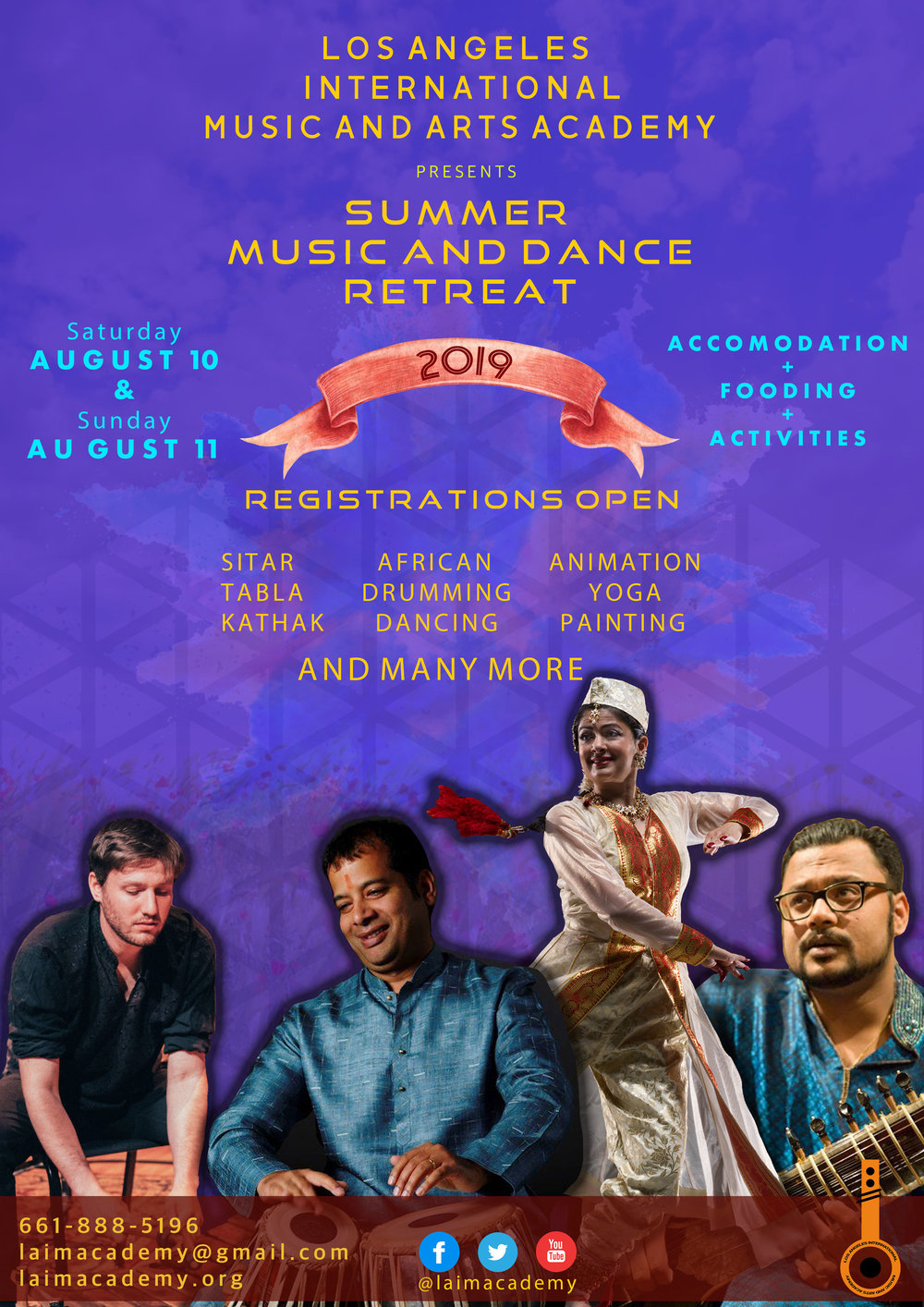Summer Music and Dance Retreat 2019 - CHECK IN: Aug 9 after 4 pmCHECK OUT: Aug 12 before 12 pm