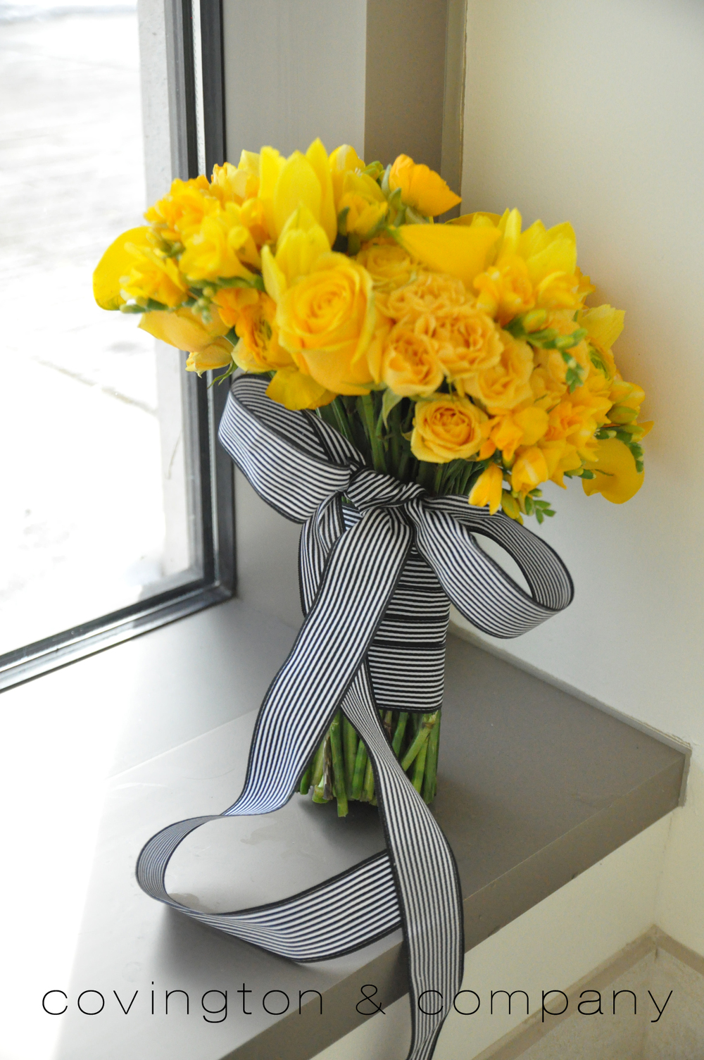 Yellow Rose_Tulip_Freesia_Black and White Ribbon.jpg