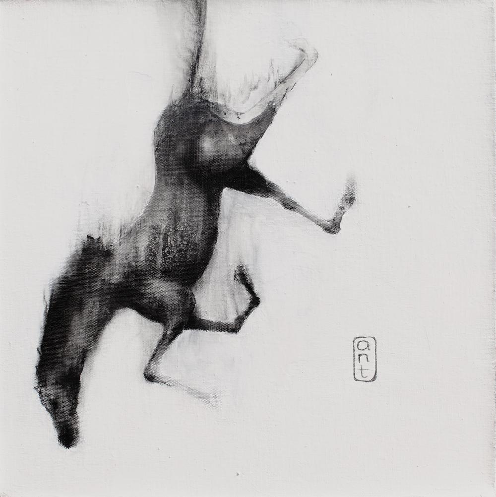 2010. Falling Horses: Brue, Pigment & Gesso on Linen. 500 x 500mm.