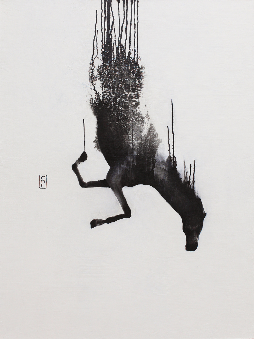 SOLD  2010. Falling Horses: Camiro, Pigment & Gesso on Linen. 1200 x 900mm.