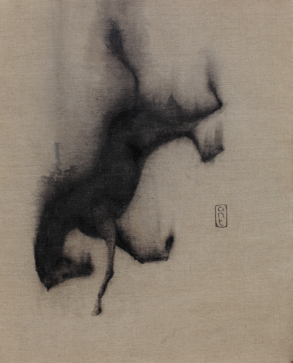 SOLD  2010. Falling Horses: Leonie, Pigment & Gesso on Linen. 800 x 650mm.