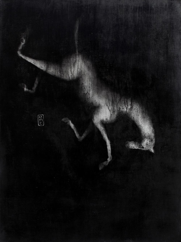 2010. Falling Horses: Noa, Pigment & Gesso on Linen. 1200 x 900mm.