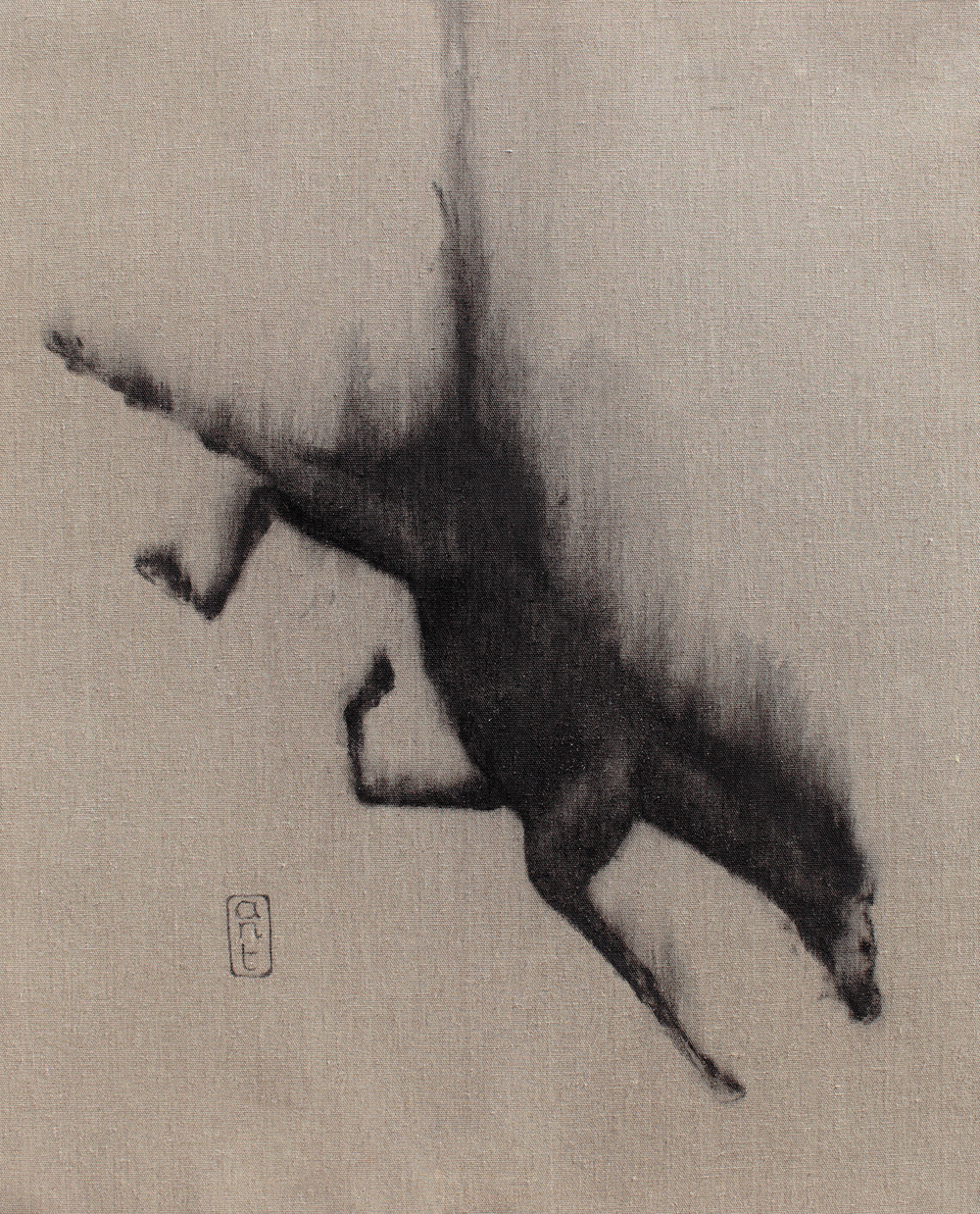 2010. Falling Horses: Rayo, Pigment & Gesso on Linen. 800 x 650mm.
