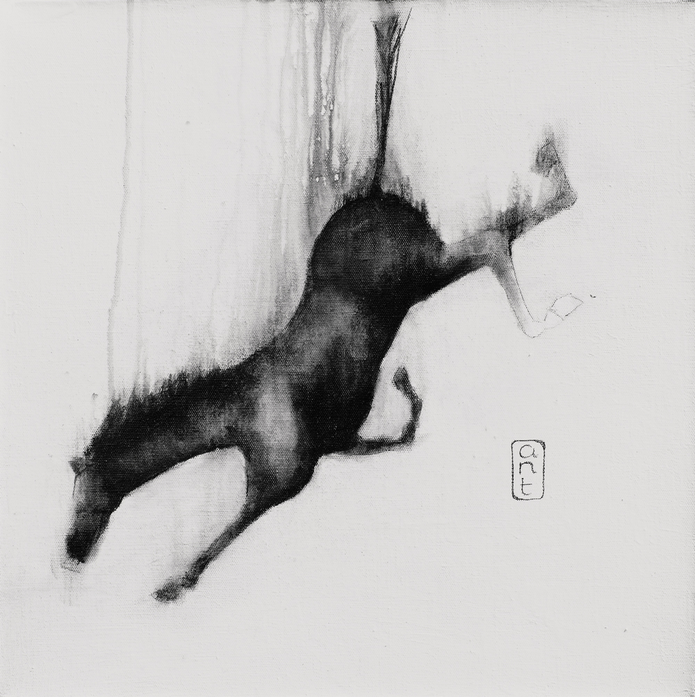 2010. Falling Horses: Rico, Pigment & Gesso on Linen. 500 x 500mm.