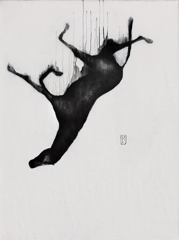 2010 Falling Horses: Sorai, Pigment & Gesso on Linen. 1200 x 900mm.