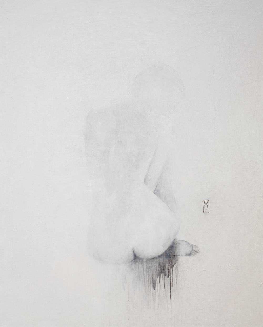 SOLD 2009 End of Noise: ahhh yuo yup yup white Gesso, Pigment & Charcoal on Canvas 1110 x 1360mm
