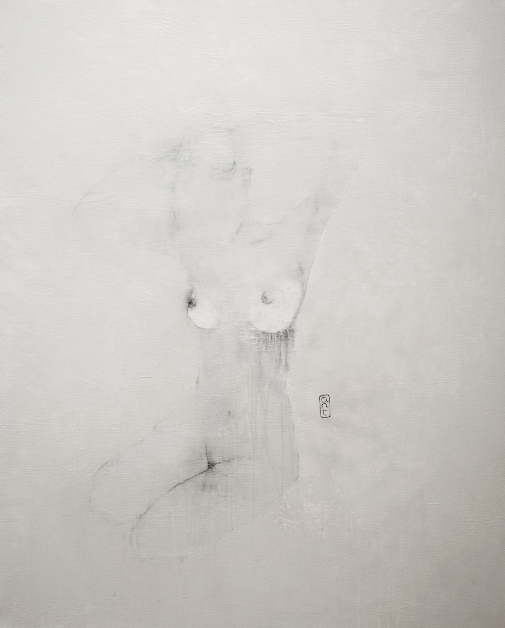 SOLD 2009 End of Noise: pok pok pok white Gesso, Pigment & Charcoal on Canvas 1110 x 1360mm