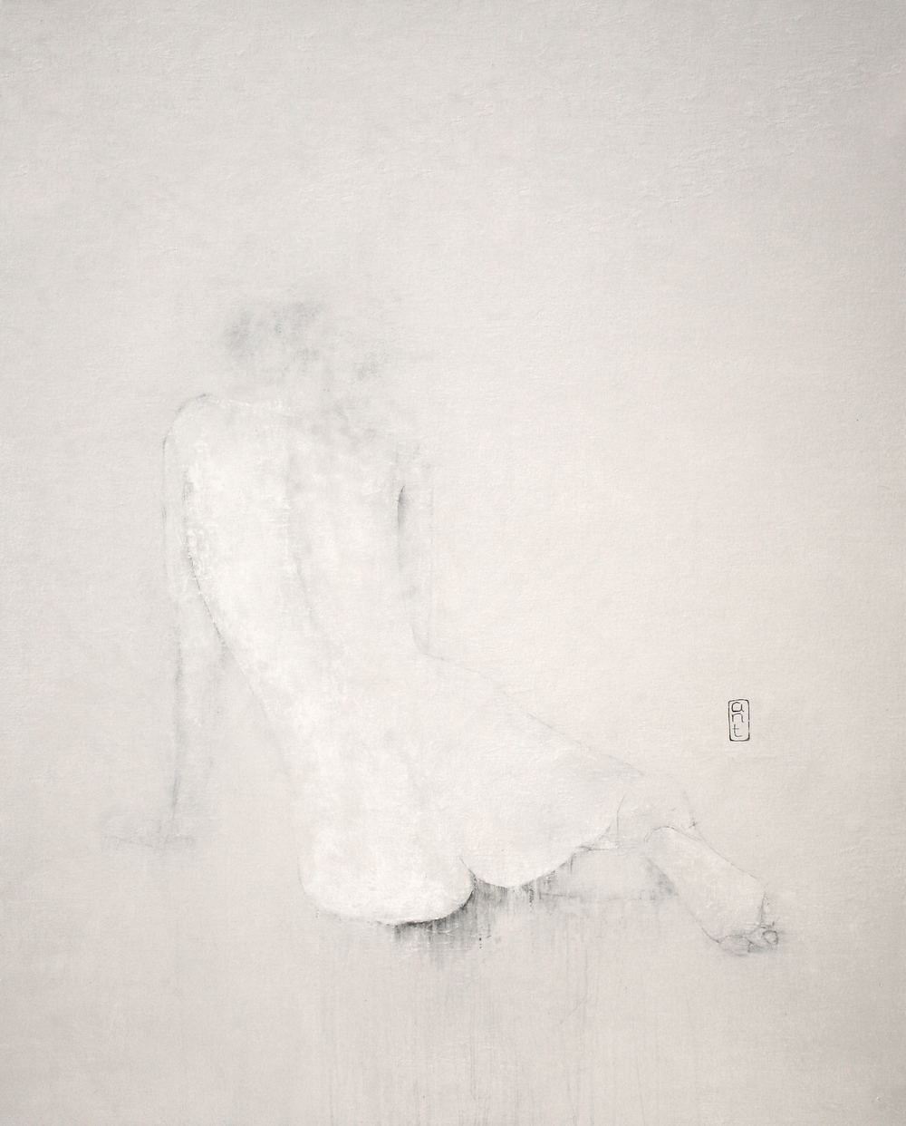 SOLD 2009 End of Noise: yab yab yii white Gesso, Pigment & Charcoal on Canvas 1110 x 1360mm