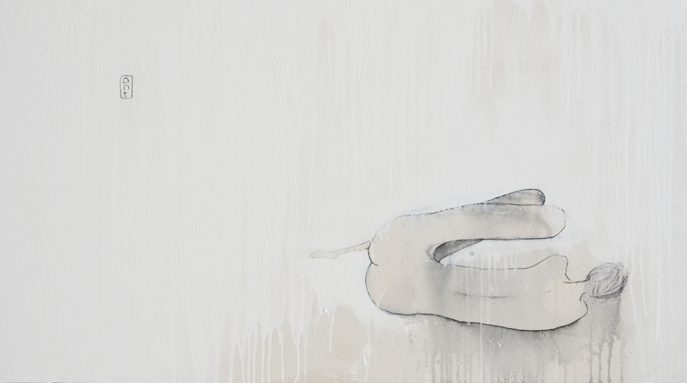 SOLD 2007 New York Series - White Blanket Acrylic & Charcoal on Canvas 1350 x 750mm