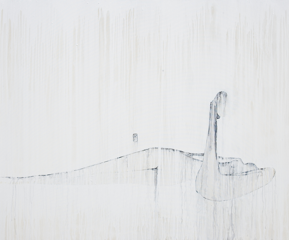 SOLD 2007 New York Series - Quiet White Acrylic & Charcoal on Canvas 1640 x 1350mm