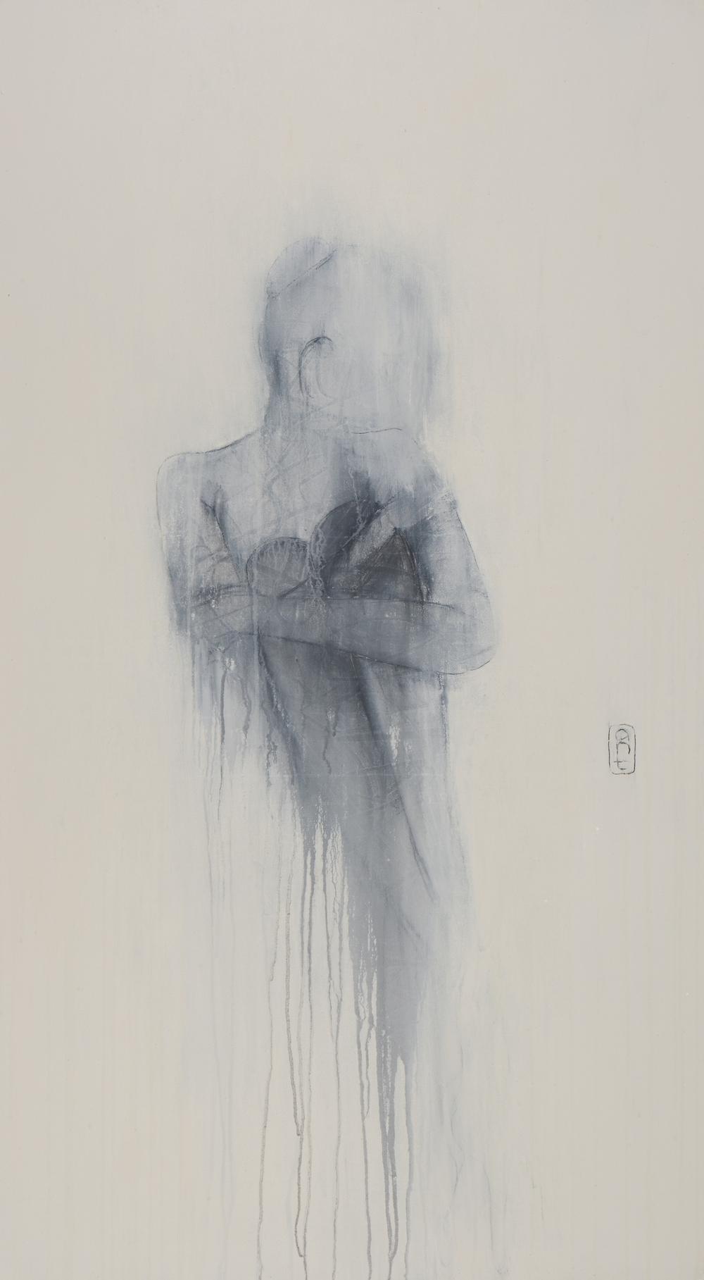 SOLD 2008 Sitting Series - Sitting in thought Gesso, Pigment & Charcoal on canvas 1360 x 760mm