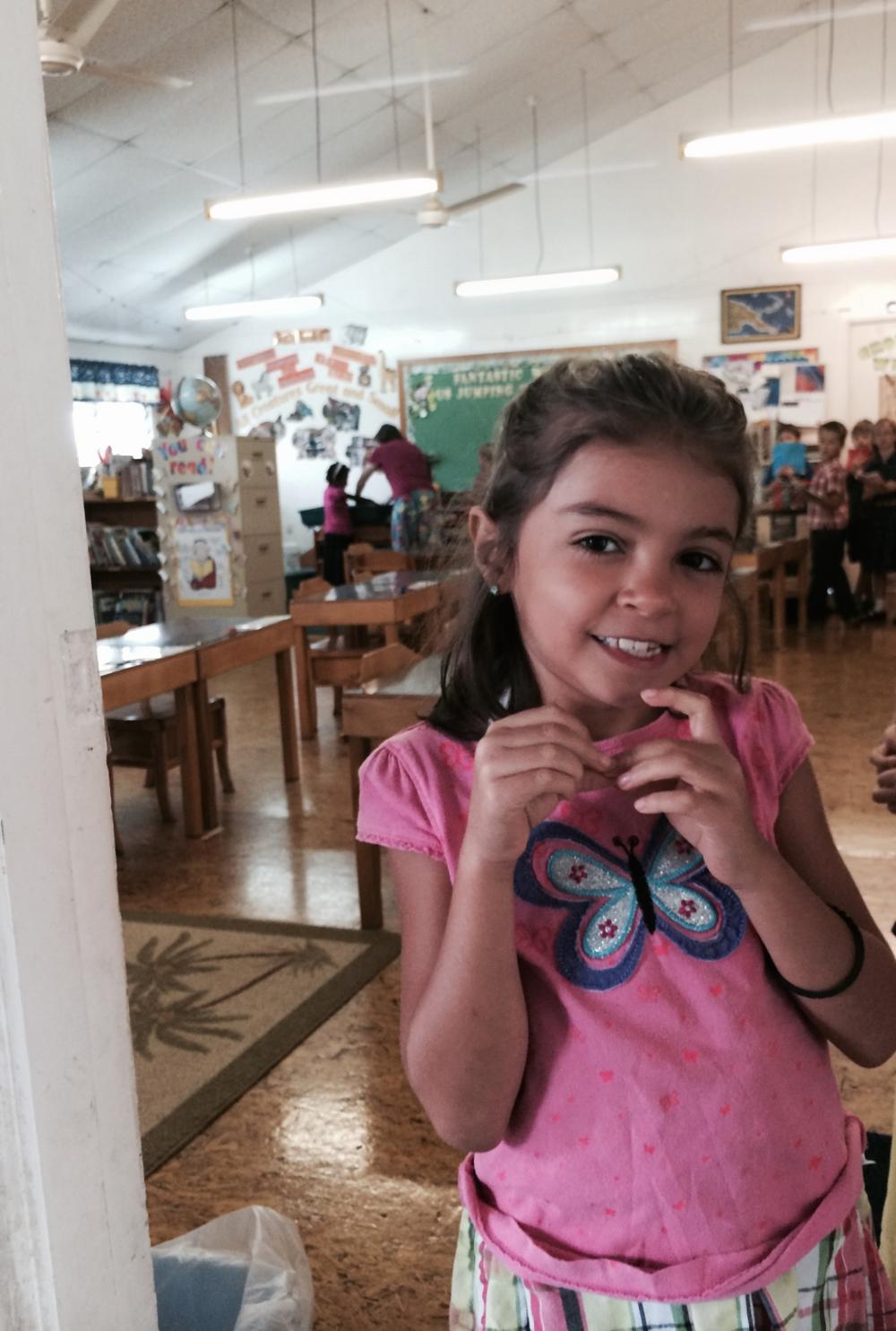 Naya at her 1st grade classroom.