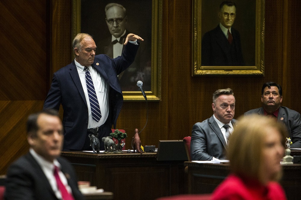 Former Arizona State Rep. Don Shooter drops his microphone after giving a statement before lawmakers voted to remove him from office on Thursday, Feb. 1, 2018 at the Arizona House of Representatives Chambers in Phoenix. Shooter was expelled after an investigation found he had sexually harassed women.
