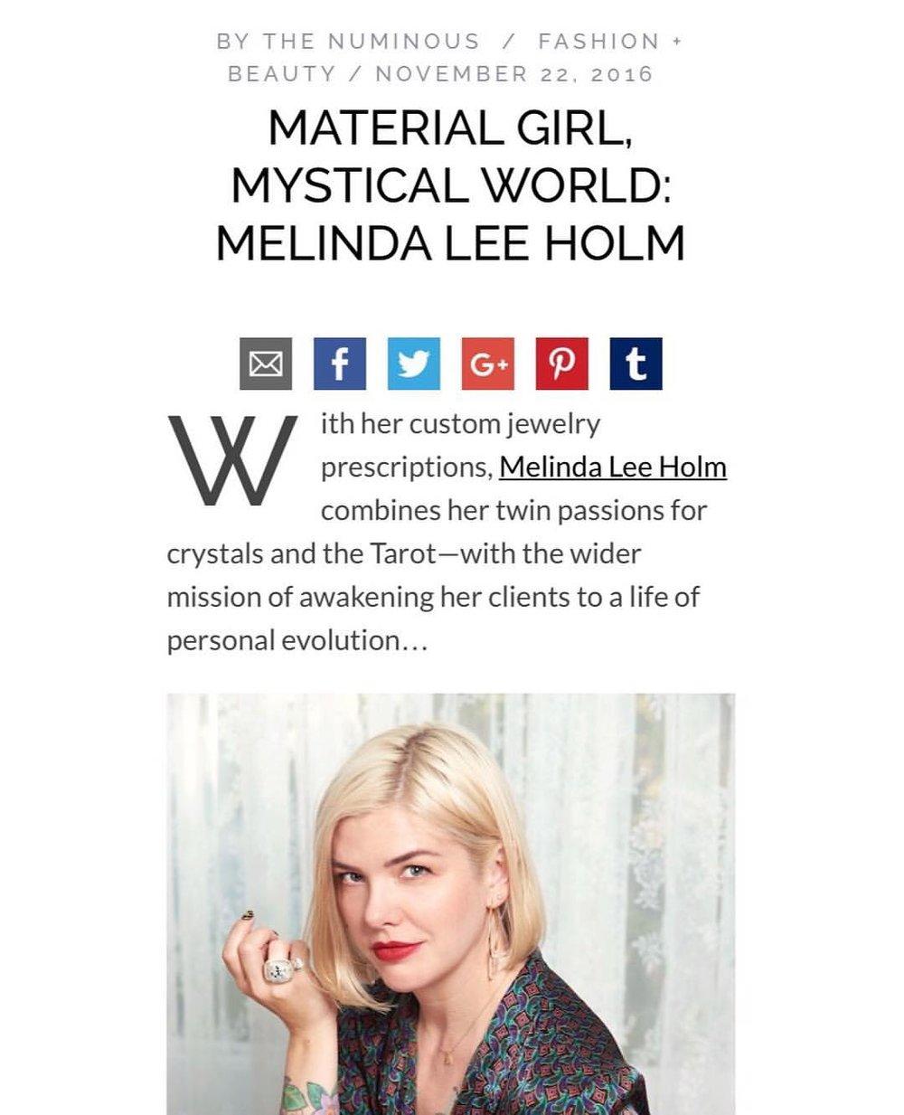 Material Girl, Mystical World: Melinda Lee Holm   The Numinous November 22, 2016
