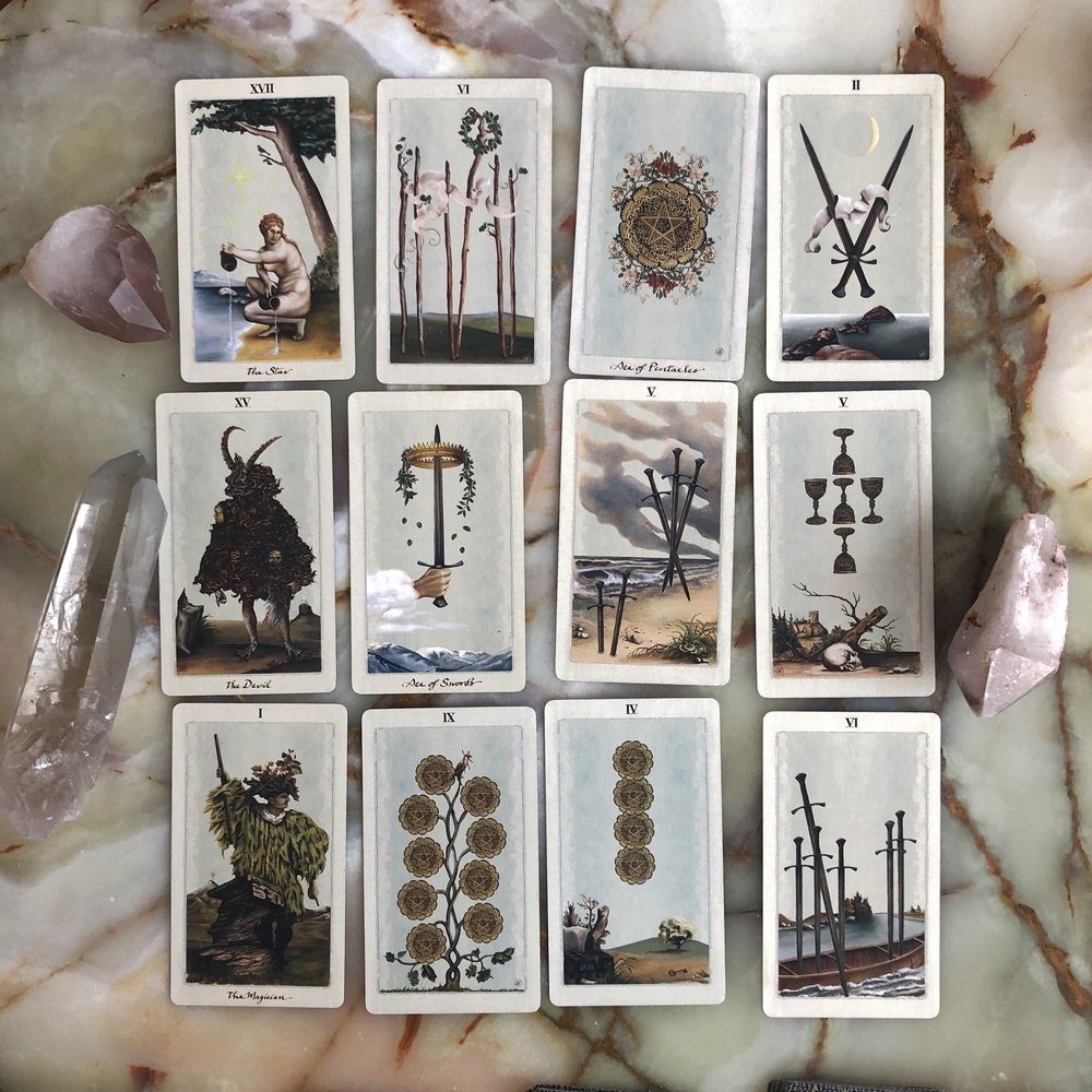 Cards form the Pagan Otherworlds Tarot by Uusi Design Collective