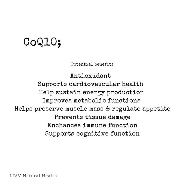 Have you heard of CoQ10? It's a natural antioxidant found in the body that plays a vital role in cellular health and has shown to improve energy and stamina! Want to experience the benefits. Come in and try our antioxidant shot! #livvnatural #livvalifeworthliving