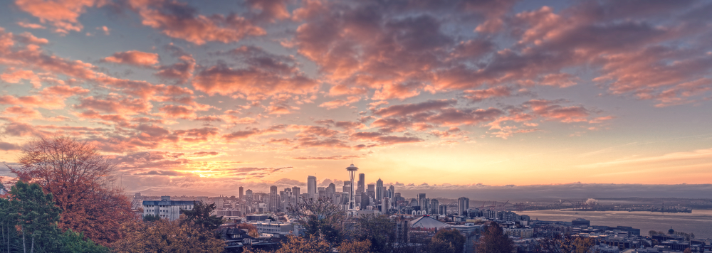 A Panoramic Sunrise in Seattle