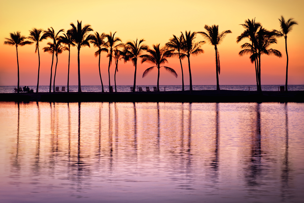 Sunset reflects in Anaeho'omalu Bay, Hawaii