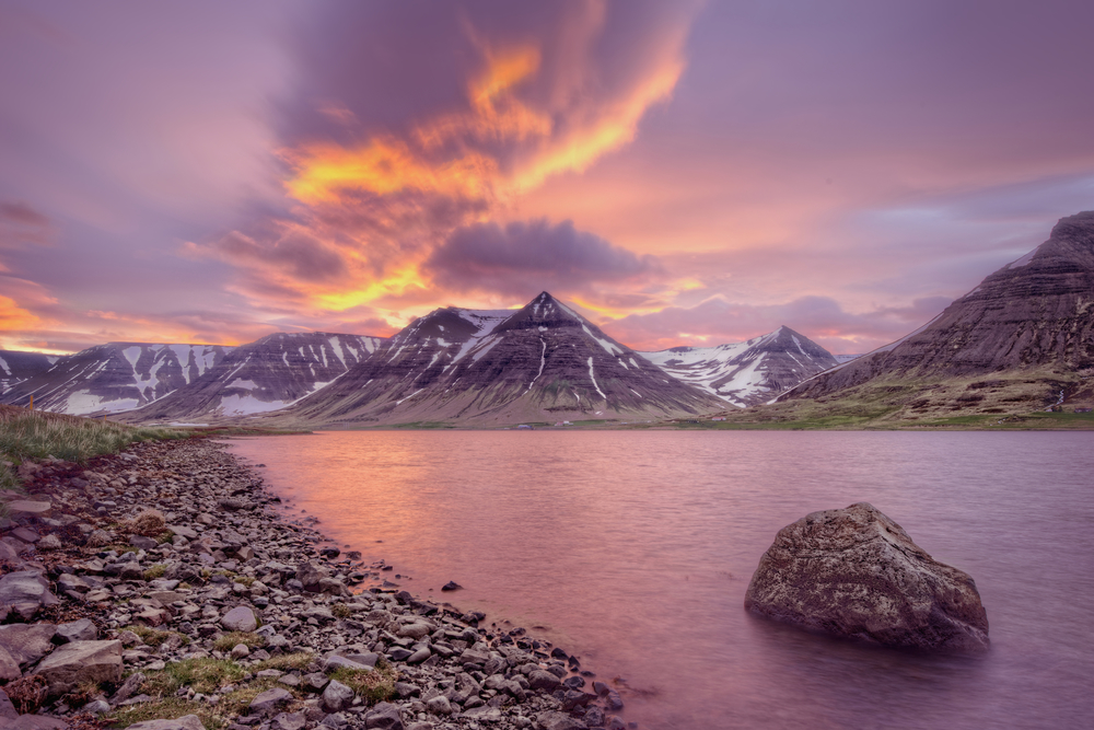 Sunset in Iceland's west fjords.