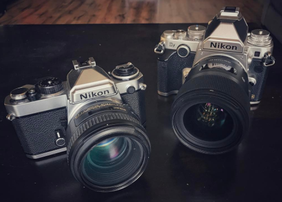 Nikon FE (left) and Nikon Df (right)