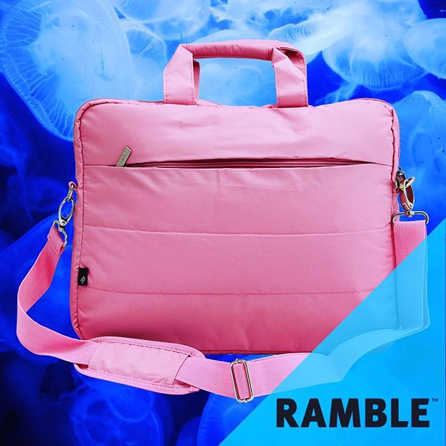 Pretty pink. Pretty tough.  #Ramble #BestBagsEver #Midweek #Pink #Jelly #Water #Retro #Sea #Blue #Jellyfish #MidweekMotivation #Wednesday #Insta #Floating #WorkHard #PlayHard #Laptop #Bags #Apple #Mac #Asus #Dell #MyWay #RambleYourWay