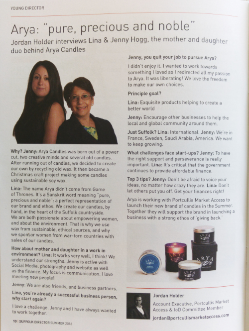 Jenny and lina hogg interviewed for the suffolk institude of directors summer magazine
