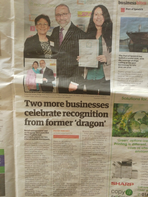 East Anglian Daily Times article about Arya Candles with Theo Paphitis