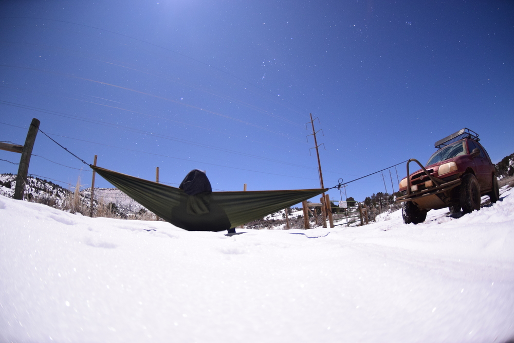 Blue skies, snow on the ground, and a hammock. What else could you need?