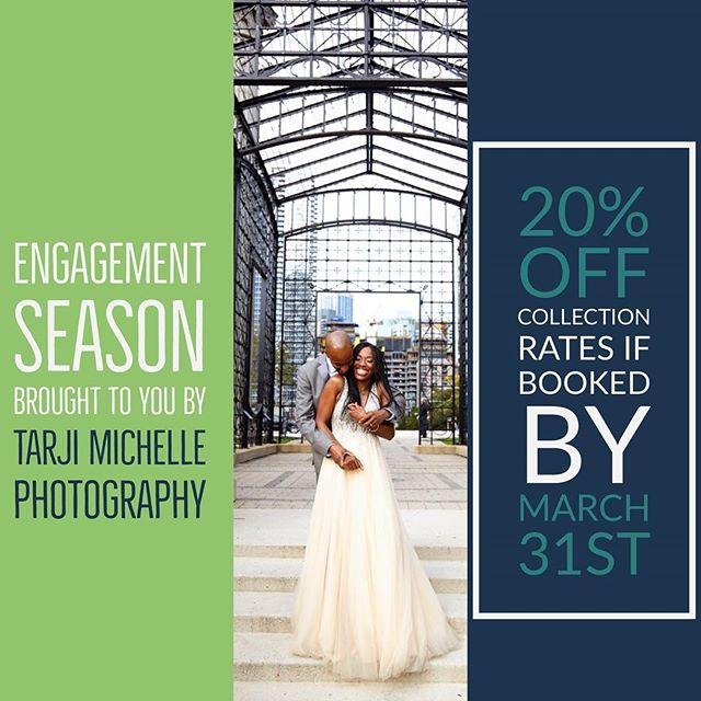 Congratulations on your engagement 💍 We are offering 20% off collections if booked by March 31st email or dm for more info. Tarji@Tarji-michelle.com. Link in bio  #enagementseason #wedding #2018brides #brides #weddingday #weddingphotography #chicagophotographer #miamiphotographer #weddingfun #couturephotography #bride #bliss #midwestphotographer #tarjimichellephotography