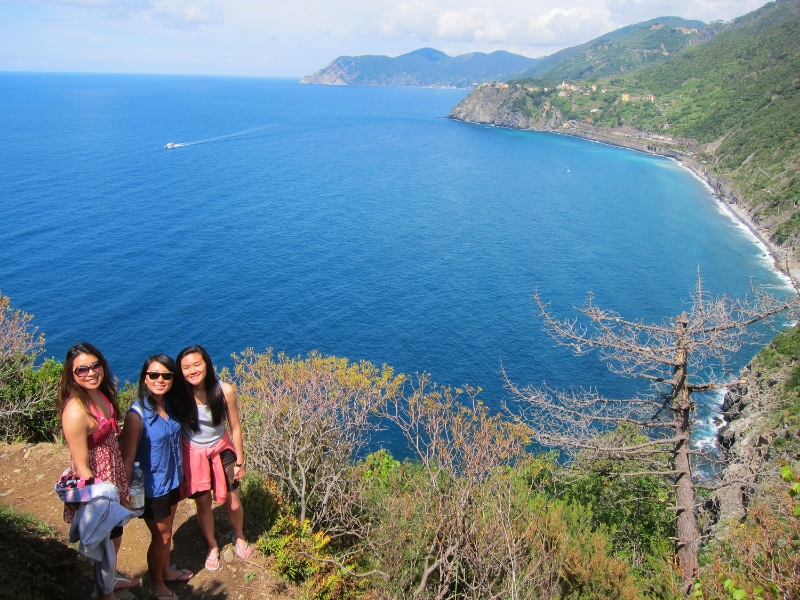 Hiking along Manarola in Cinque Terre.