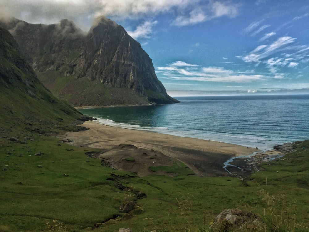 Kvalvika Beach in Lofoten Islands, Norway.