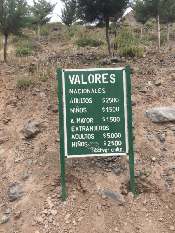 Park entrance fees for El Morado National Park