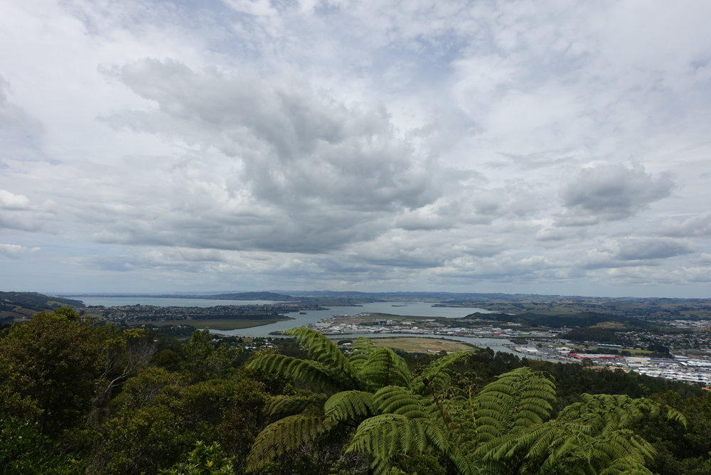 At the summit of Mount Parihaka looking down into Whangarei