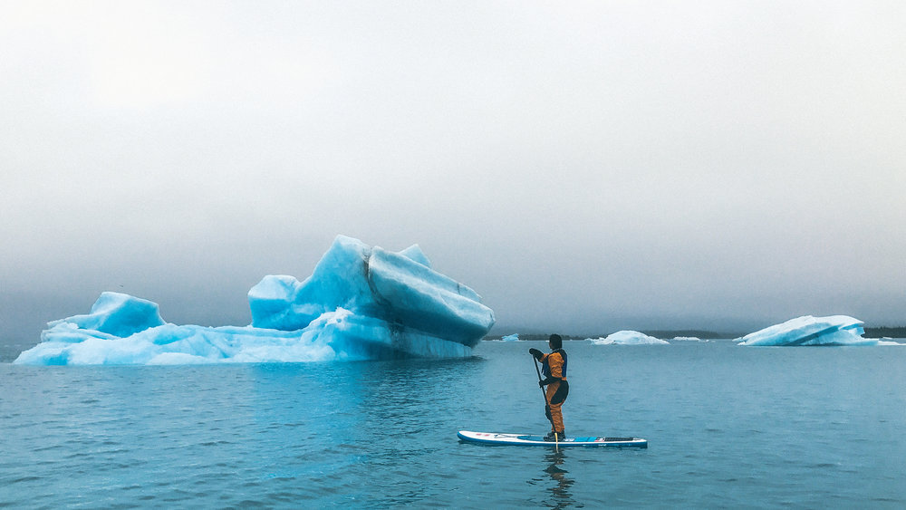 Stand up paddle boarding in Bear Glacier